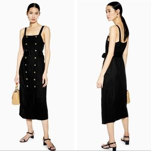 Topshop Belted Pinafore Linen Blend Midi Dress